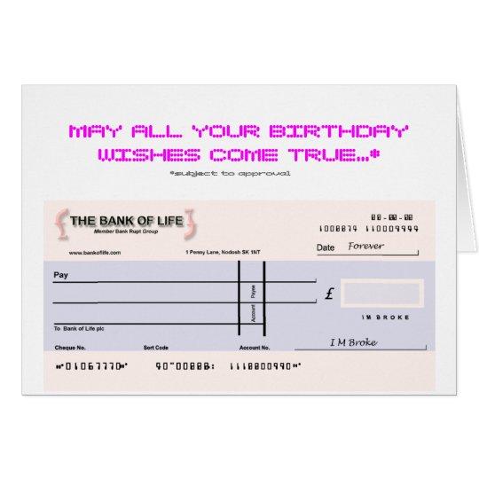 Blank Check Birthday Card Zazzle Co Uk