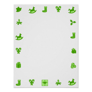 Blank Christmas Poster Green Decorative Border