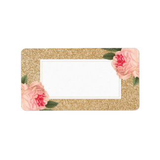 Blank Coral Peonie on Gold Glitter Address Labels