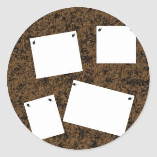 Blank Cork Board With Papers Classic Round Sticker