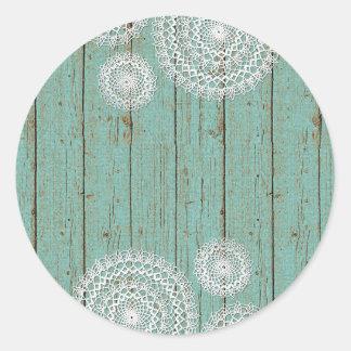 Blank Crochet Doily Wood - Customizable Packaging Classic Round Sticker