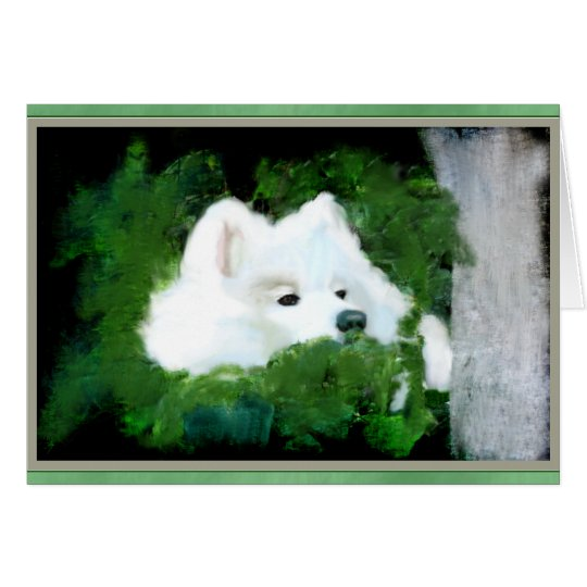 Blank Custom Greeting Card; Samoyed in the Garden