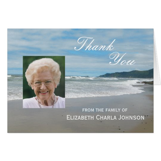 Blank Custom Sympathy Thank You Card - Beach