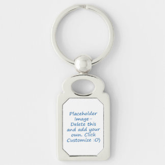 Blank design with placeholder image for DIY Silver-Colored Rectangle Key Ring