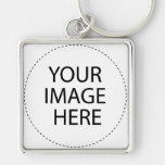 BLANK - DESIGN YOUR OWN - CREATE YOUR OWN Silver-Colored SQUARE KEY RING