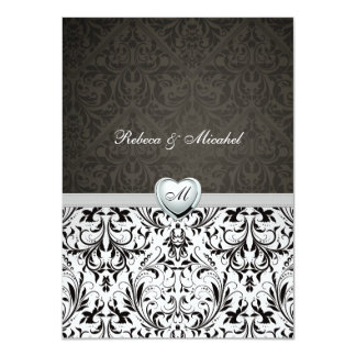 Blank Elegant Damask Monogram Wedding Invites