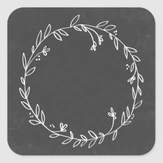 Blank Floral Wreath Chalkboard Thank You Sticker
