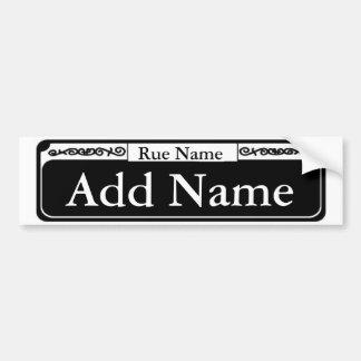 Blank French Quarter Street Sign, Add Name Bumper Sticker