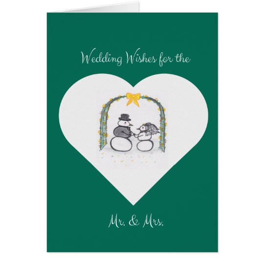 Blank Green Winter Wedding Greeting Card