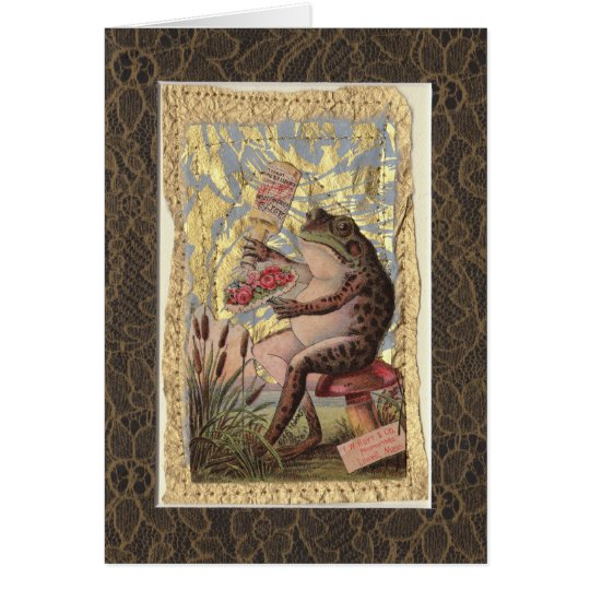 Blank Greeting Card Victorian Collage Frog Flowers