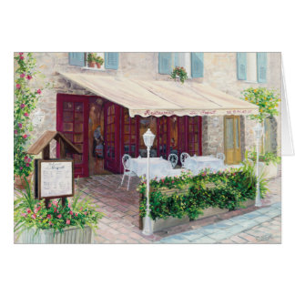 blank greeting card with French Cafe