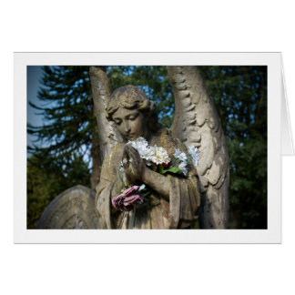 Blank Greetings Card: Angel With Flowers Card