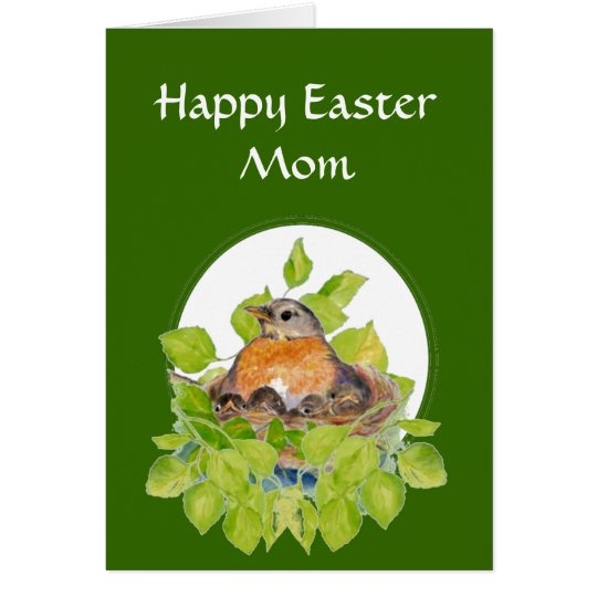 Blank Happy Easter Mum, Mother Robin on Nest Card