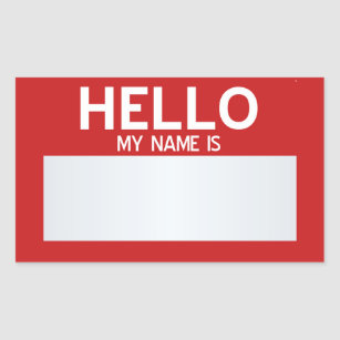 Blank Hello My Name Is Customizable Rectangular Sticker