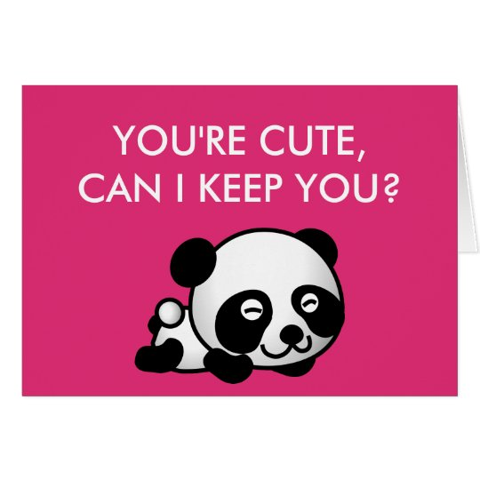 "Blank Inside ""You're Cute"" Panda Valentines Day Card"