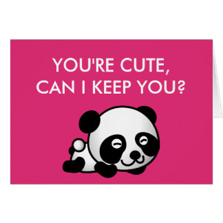 """Blank Inside """"You're Cute"""" Panda Valentines Day Greeting Card"""