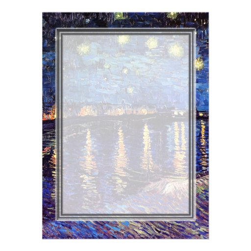 blank invitation, van Gogh starry night Custom Invitation