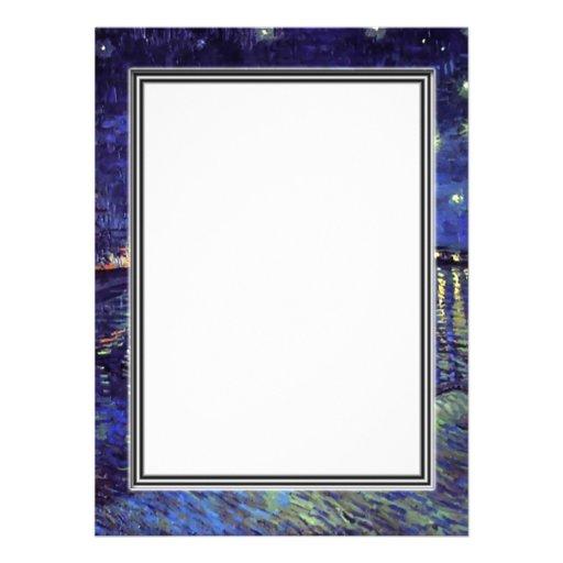 blank invitation, van Gogh starry night Invites