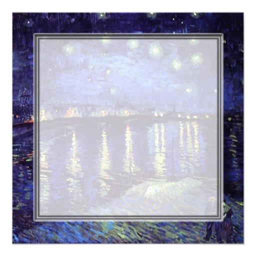 blank invitation, van Gogh starry night Announcement