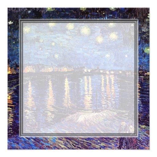 blank invitation, van Gogh starry night Custom Announcement