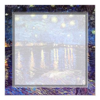 "blank invitation, van Gogh starry night 5.25"" Square Invitation Card"