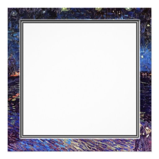 blank invitation, van Gogh starry night Personalized Announcements