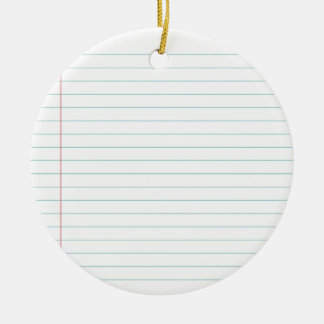 Blank Lined Paper Christmas Ornament