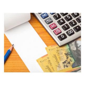 Blank list with Australian dollars and calculator Custom Flyer
