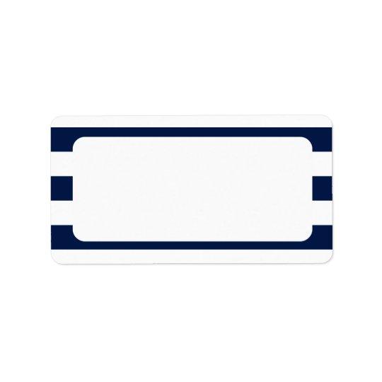 Blank Nautical Wedding Navy Stripes Label