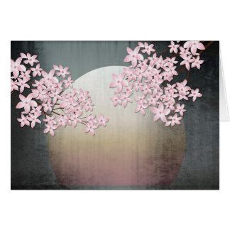 Blank Note Card Cherry Blossom Sunrise