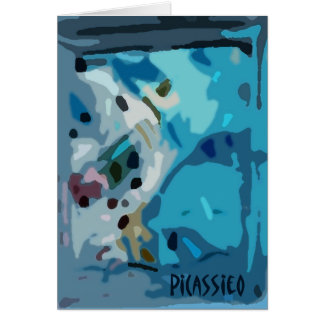 """Blank Note Card in Shades of Blue, """"Cool Java"""""""