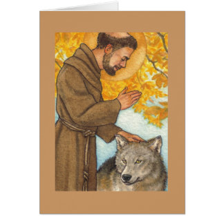 blank note card St Francis & wolf