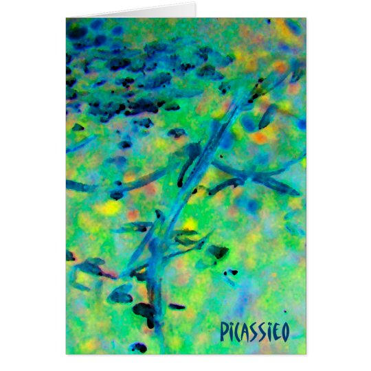 Blank Note Card with colourful PiCassieO art