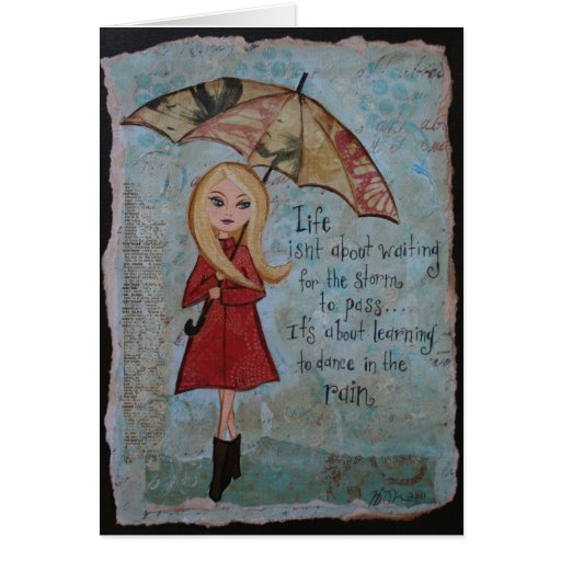 Blank Notecard Inspirational Quote Rainy Day Art Greeting Card