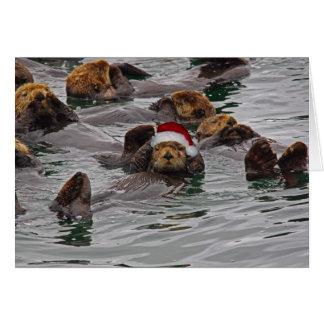 Blank Otter Santa card