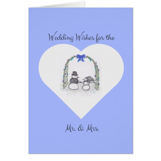 Blank Pale Blue Winter Wedding Greeting Card