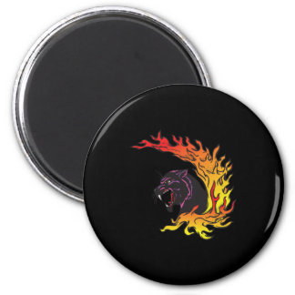 blank panther and flames 6 cm round magnet