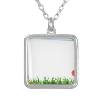 Blank paper square pendant necklace