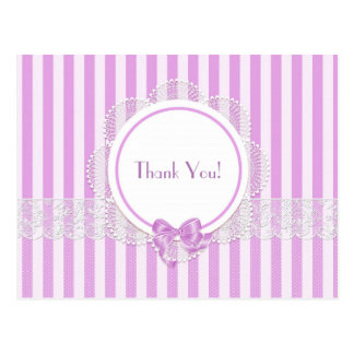 Blank - Pink Striped Lace Thank You Postcard