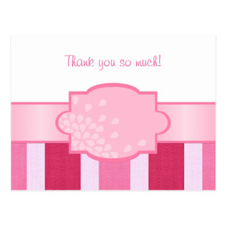 Blank - Pink Stripes Thank You Postcard