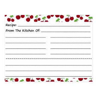 Blank Recipe Cards: Cherries Postcard