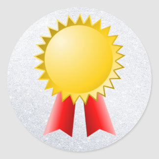 blank red ribbon and gold star award round sticker