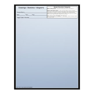 Blank Remote Viewing Idiogram Sheets w/descriptors 21.5 Cm X 28 Cm Flyer