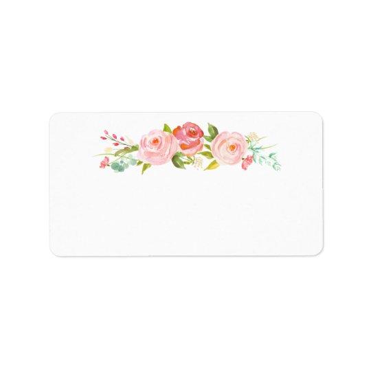 Blank Rose Garden Floral White Address Label