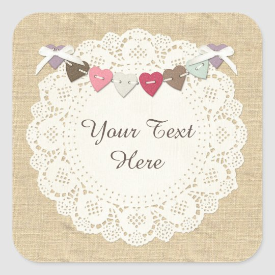 Blank Rustic Stitches Sewing Boutique Packaging Square Sticker