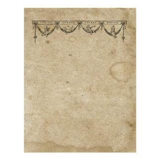 Blank Season & Cherub Antique Stained 1880's Paper 21.5 Cm X 28 Cm Flyer
