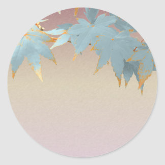 Blank Stylish Frosted Fall Japanese Maple Leaves Classic Round Sticker
