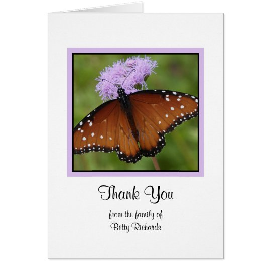 Blank Sympathy Thank You Note Card - Butterfly