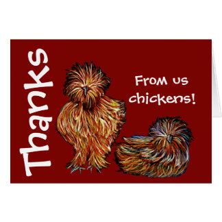 """Blank Thank You card red """"us chickens"""""""