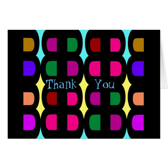 Blank Thank You Cards -Rainbow Colours on Black